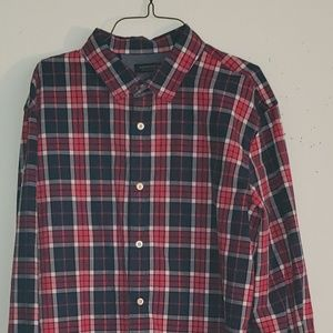 Banana Republic Red Blue Plaid Long Slee